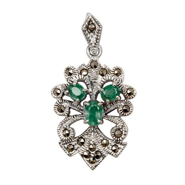 verde-esmeralda-plata-marquesitas-colgante