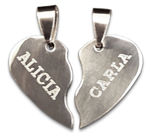 colgante plata corazón con nombre personalizado